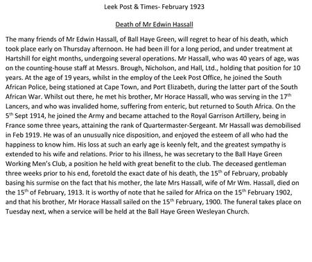 Transcription of newspaper article regarding Edwin