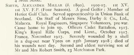 Alexander Millar Smith Entry