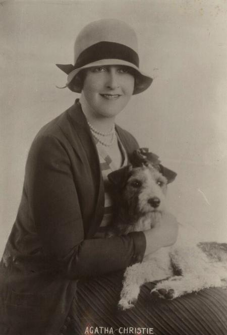 Agatha Christie with dog, 1920s