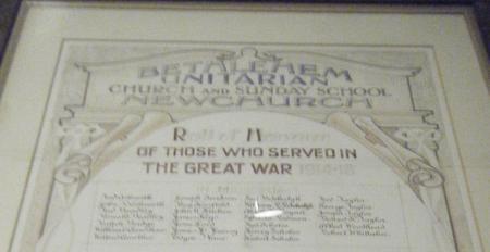 Bethlehem Unitarian Church - Roll of Honour