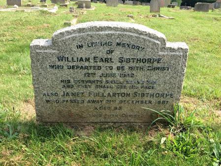 Gravestone of William Earl Sibthorpe