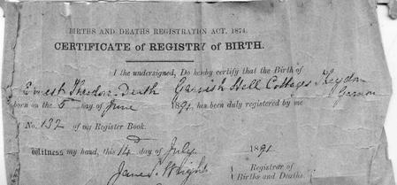Ernest Theodore Death birth certificate