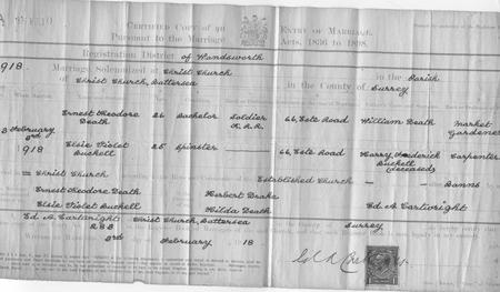 Ernest and Elsie's marriage certificate