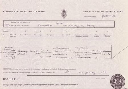 Death Certificate for Stanley Skelton