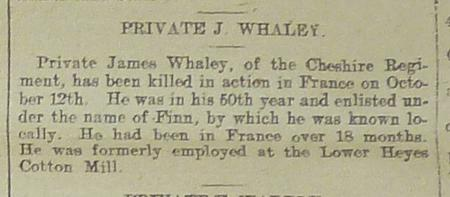 Obituary of James Whaley known as James Finn