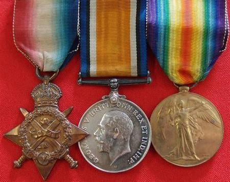 1914 Star, BWM and Victory Medal as awarded to Syd