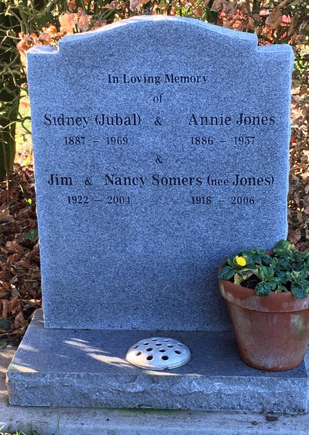 Headstone Sidney Jones and Family