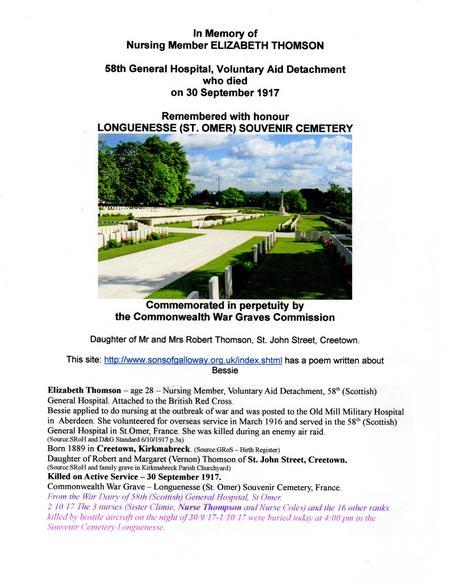 Elizabeth Thomson Memorial