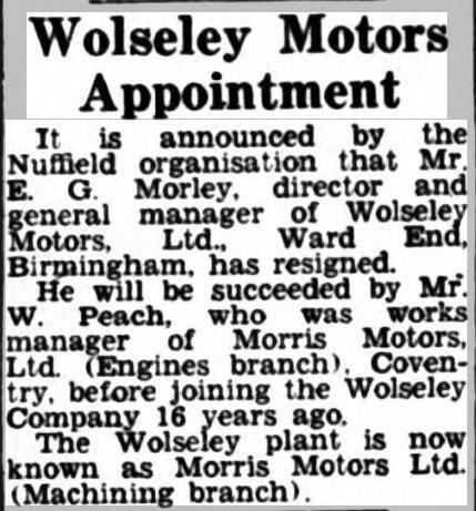 Wolseley Motors appointment