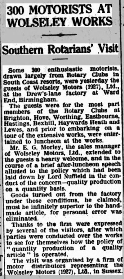 300 motorists at Wolseley Works