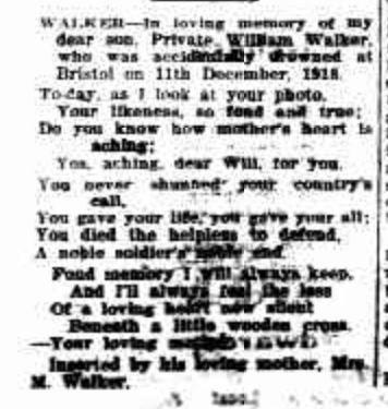 In Memorandum notice from Williams Mother