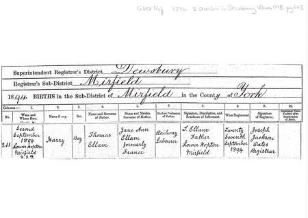 Birth Certificate for Harry Ellam