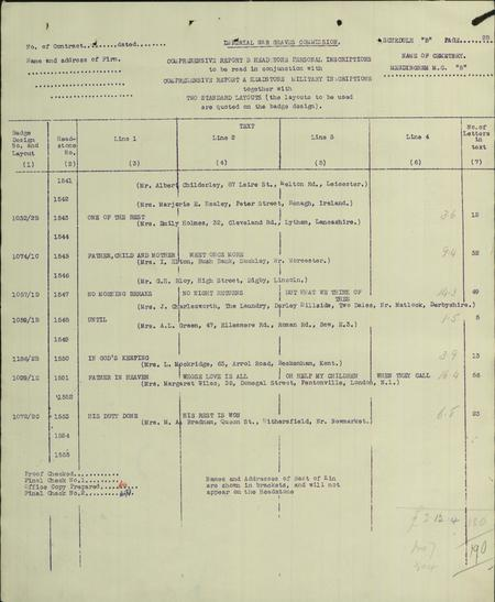 Document from the CWGC