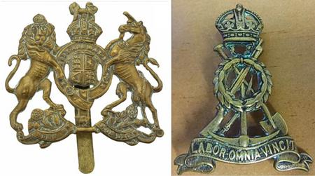 Labour Corps cap badges worn by Charles Cooper.