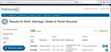 Death Index search for Stanley Gibson Richards