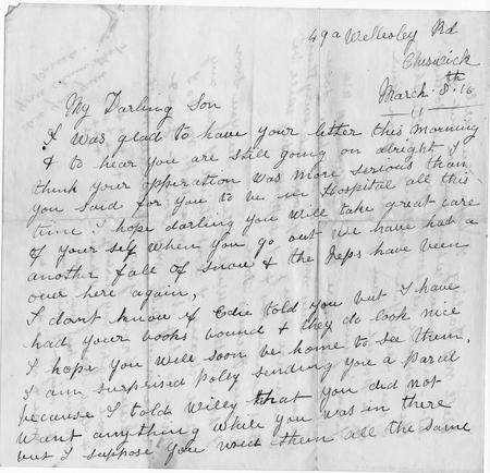 letter from Albert's mother 8th March 1916 (p1)