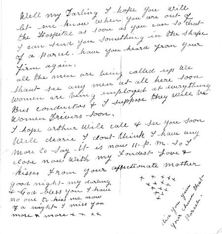 Letter from Albert's mother 8th March 1916 (p2)