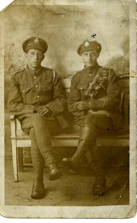 Fred Perkins (on right) + friend, studio portrait