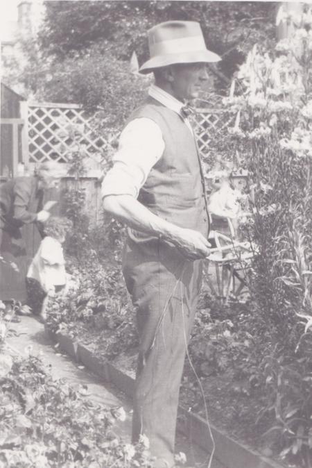 Walter Imlah in his garden in High Street, Buckie