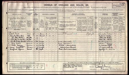Census 1911: Ernest Vaux family