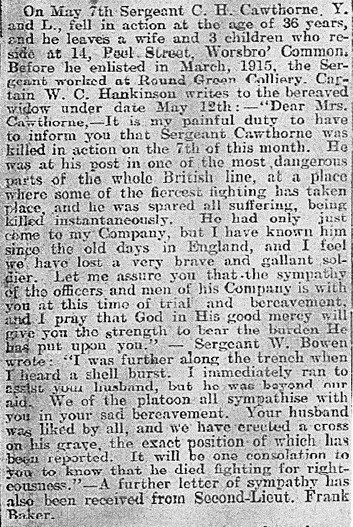 Cutting 26 May 1917 Barnsley Chronicle