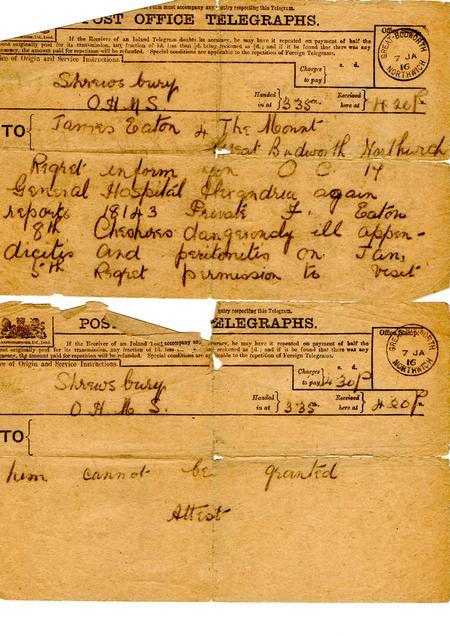 Telegram informing that F Eaton is dangerously ill