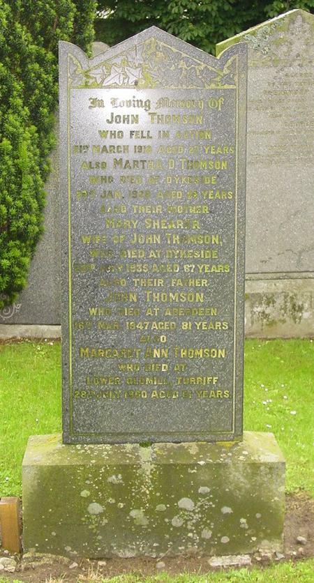 Thomson headstone in Auchterless kirkyard