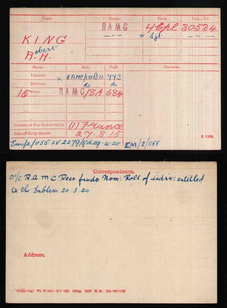 British Army World War I Medal Rolls Index Card