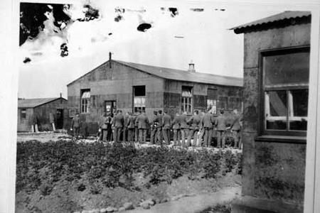 Soldiers outside cookhouse, Ripon Barracks