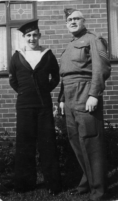 Charles Kelly and son in uniform WW2