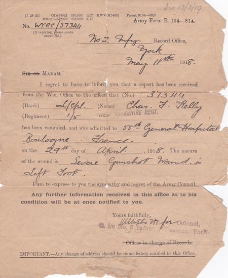 Notice of Hospitalisation 1918