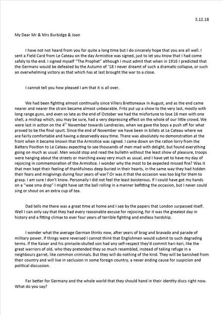 Edwin's 10th letter 3 December 1918 - Part 1