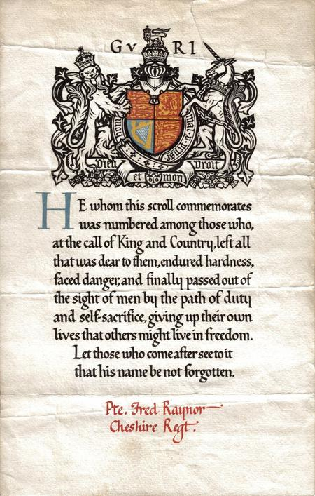 Fred Raynor s Memorial Scroll