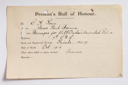 Preston Roll of Honour form for Hugh Rain