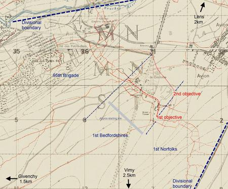Ist Bn Bedfordshire attack on La Coulotte April 19