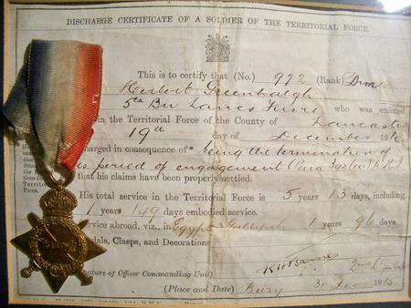 Discharge Certificate Lanc Fusiliers