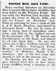 Article from Aberdare Leader, 5 May 1917