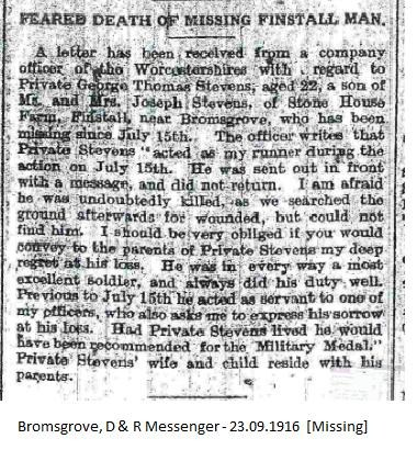 Bromsgrove, D & R Messenger - 23.09.1916