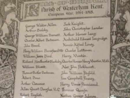 Roll of Honour in St. Mary's Church, Westerham.