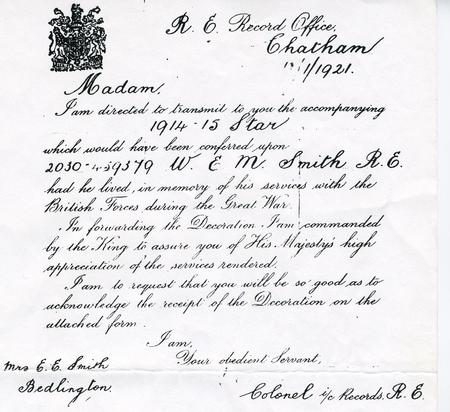 Letter to William Smith's mother Mrs E. E. Smith