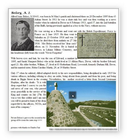 Extract taken from Dover  War Memorial Project web