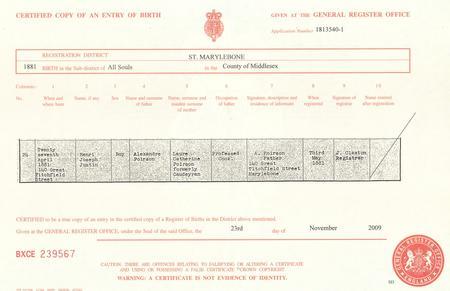 Birth certificate of Henri Joseph Justin Poirson