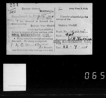 Postcard confirming receipt of British War Medal