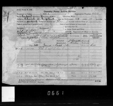 Walter Henry Harrison Short Service Record p6