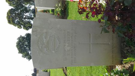 The grave of R. E. Barker at Deville Wood cemetery