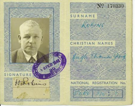 Hugh Thomas George Robins - Travel Identity Card