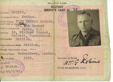 Hugh Thomas George Robins - Military Identity Card