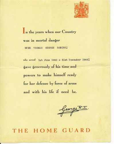 Hugh Thomas George Robins - Home Guard Certificate