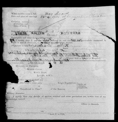 Army Form W 3463A obverse