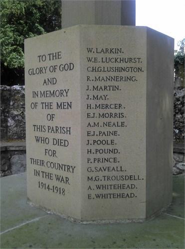 William Edward Luckhurst - Boxley War Memorial